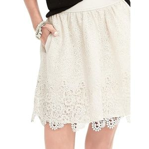 Banana Republic | Fit & Flare Lace Overlay Skirt